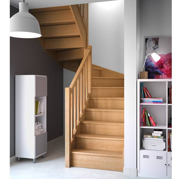escalier bois op ra standard double quart tournant. Black Bedroom Furniture Sets. Home Design Ideas