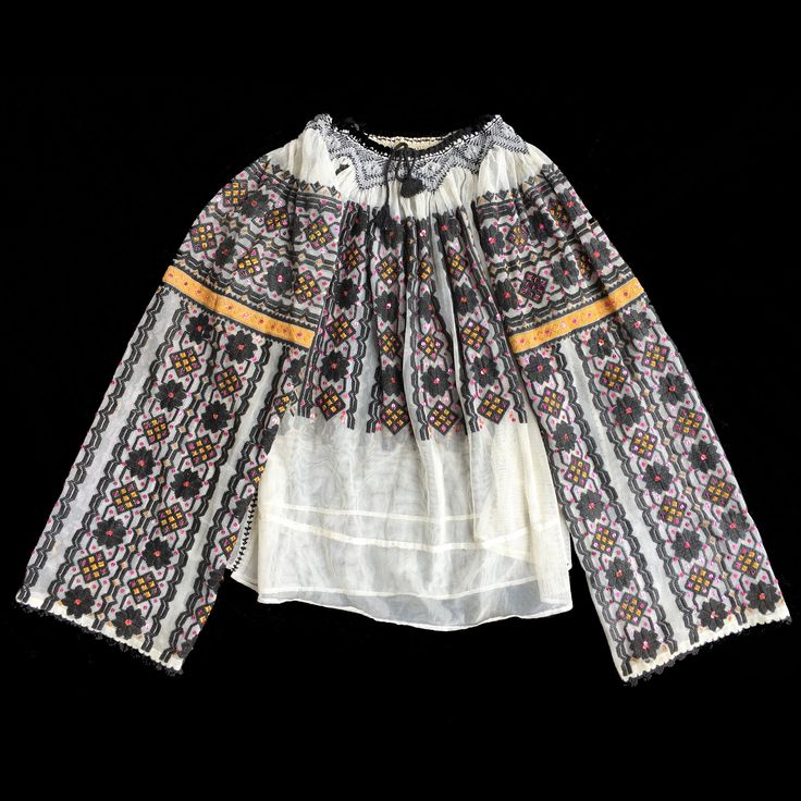 Vintage Hand embroidered Romanian blouse with beads