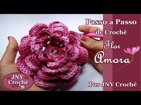 Passo a Passo de Crochê Flor Amora por JNY Crochê - YouTube