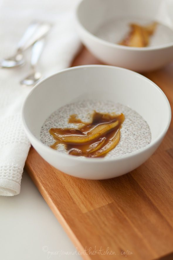 Vanilla Bean Chia Porridge with Sauteed Coconut Caramel Pears
