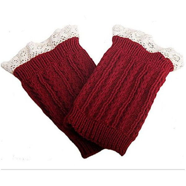 Women's Women Leg Warmer Knit Lace Boot Cuff Topper Socks ($7.99) ❤ liked on Polyvore featuring intimates, hosiery, red, socks & hosiery, knit leg warmers, lace leg warmers, boot cuff leg warmers, lace hosiery and red leg warmers