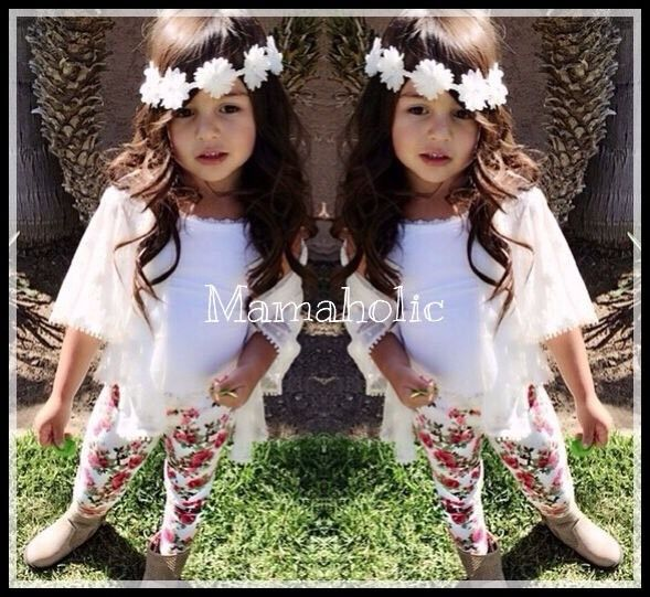 White Singlet, Floral Leggings & White Cardigan 3pcs set, Girls Outfit, 5 Years