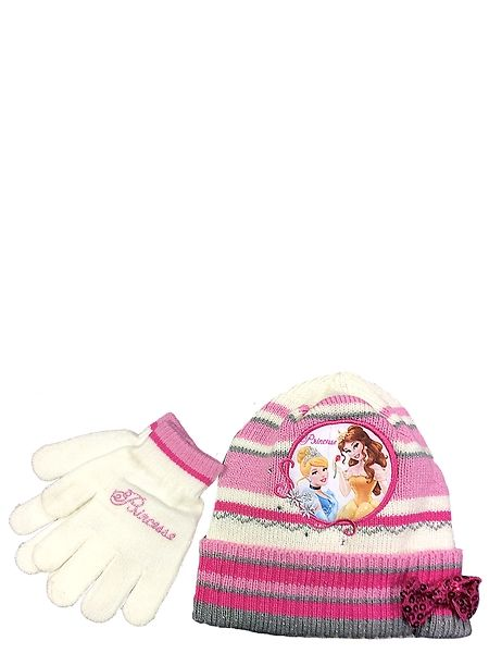 Suojaudu viimaa vastaan! Lämpimään Prinsessat-neulesettiin kuuluu pipo sekä joustavat sormikkaat, joissa komeilevat hurmaavat prinsessat Tuhkimo ja Belle. Pipon koko 54. Konepesu 30 asteessa. Materiaali: 60 % akryyli, 40 % polyesteri
