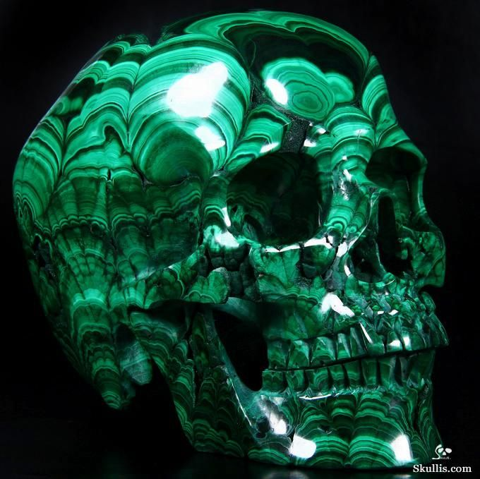 Absolutely gorgeous.... Malachite Geode Crystal Skull Sculpture