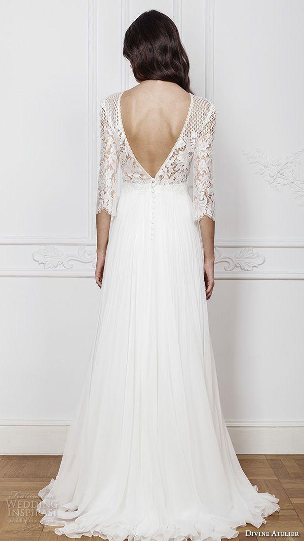 divine atelier 2016 bridal gowns three quarter sleeves illusion jewel straight across neckline embellished bodice modern a line wedding dress with split v back brush train (amal) bv