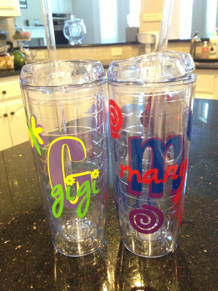 Diy acrylic tumbler cups ordered from discountmugs com add cricut vinyl great