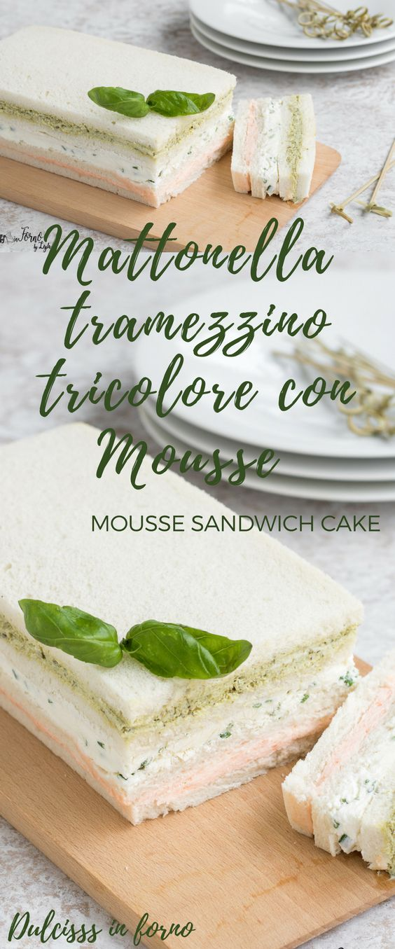 Mattonella salata di tramezzini - Torta tramezzino con mousse al salmone, formaggio e pesto - Torta di tramezzini ricetta Dulcisss in forno by Leyla - Tricolor Sandwich Cake - Mousse sandwich cake recipe - Fast and easy sandwich cake