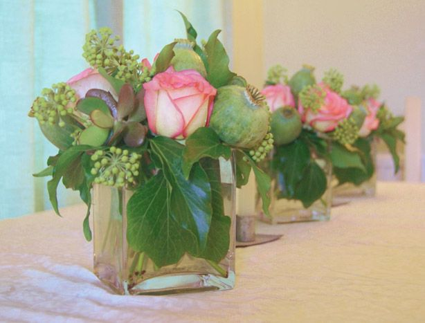 Soft mix of flowers for a company boardroom or reception area coffee table. Florissimo, Shropshire