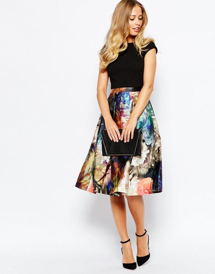 Imagen 4 de Vestido con falda en estampado floral Eana Technicolour de Ted Baker
