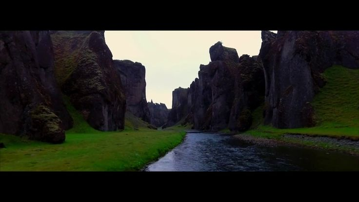 Fjadrargljufur canyon Iceland near Kirkjubaejarklaustur vilage,  aerial video