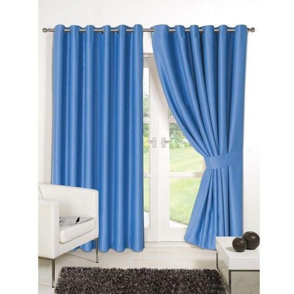 Dreamscene Blackout Eyelet Curtains ($84) ❤ liked on Polyvore featuring home, home decor, window treatments, curtains, blue, blue home decor, black out window treatments, blackout lining curtains, blue window treatments and blackout drapery