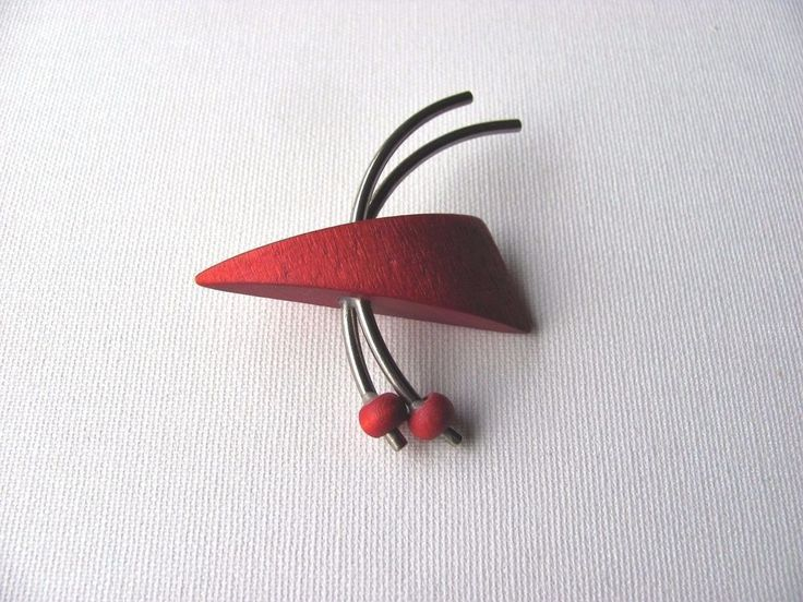 Aarikka Vintage Red Wooden Brooch Retro Geometric #Aarikka