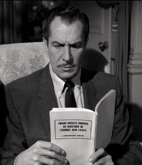 "Vincent Price reads ""Fright effects induced by injection of lysergic acid LSD25""... well, that explains a lot."