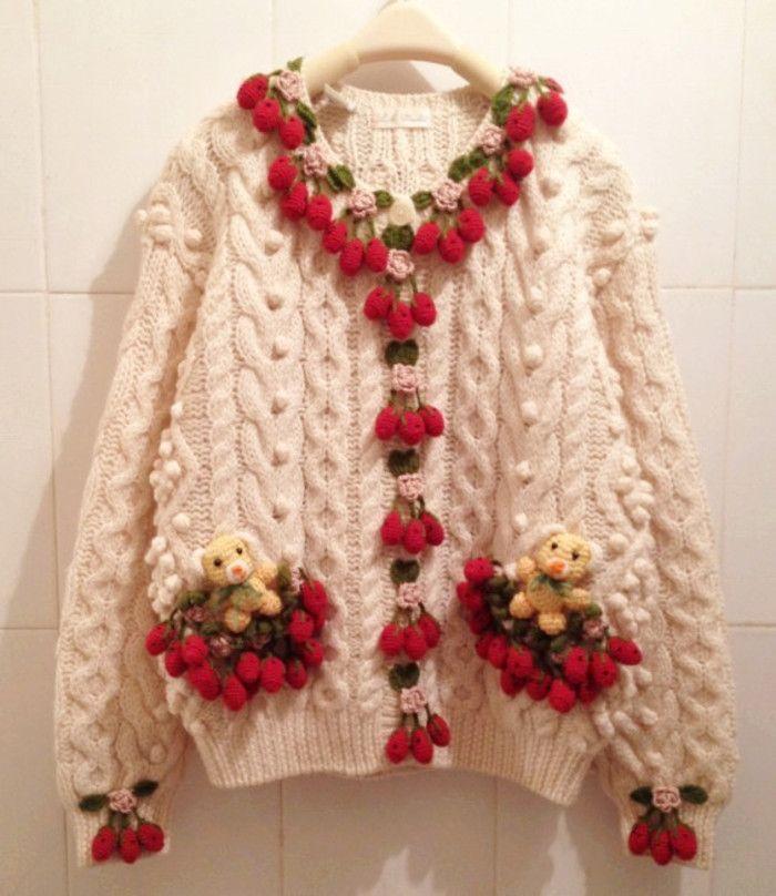 重磅尖货vintage手工羊毛复古毛衣草莓樱桃小熊SM2孤品古着开衫