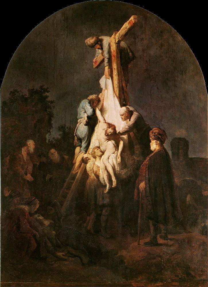 N-NL, bijbels tafereel. 1. Rembrandt van Rijn 2. De afneming van het kruis 3. circa 1632 4. Amsterdam  Dit schilderij heeft een piramidale compositie. Het heeft een sterke clair-obscuur werking, wat typisch was voor Rembrant. Ook vertonen de gezichten veel expressie.