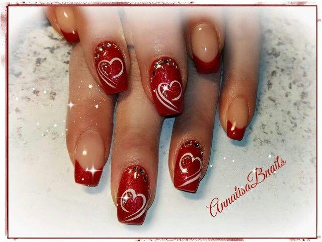 french rosso glitter cuori strass