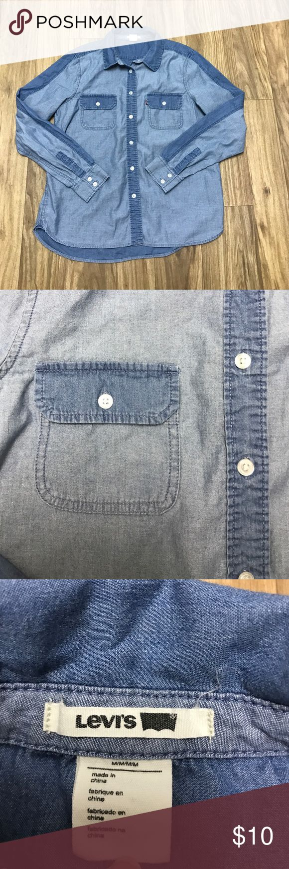 Denim Levi Long Sleeve Size medium, denim long sleep, has 2 front pockets Levi's Tops Tees - Long Sleeve
