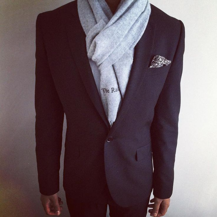 Black skinny fit Asos suit, white shirt, Lord Dotte pockey square, cashmere wool scarf