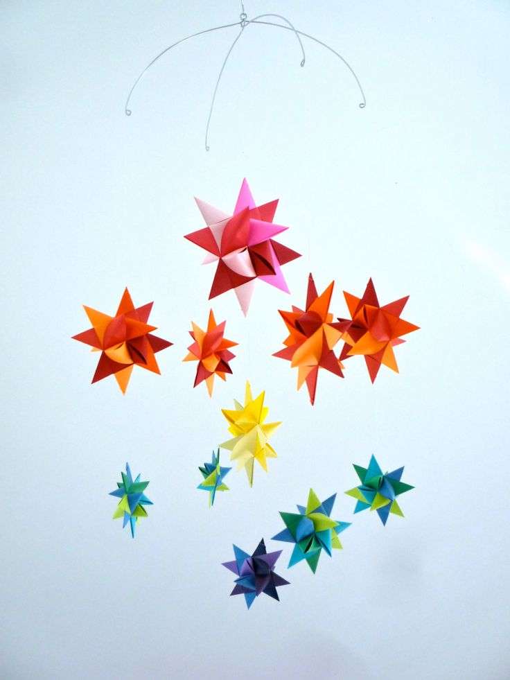--Colorful Mobile---  Baby Crib Mobile Hanging Origami Stars -'Ursa Minor' Rainbow. $38.00, via Etsy.