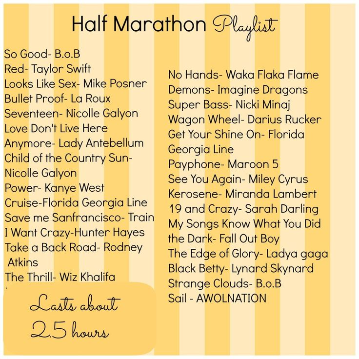 Half Marathon Running Playlist. I'm not up to speed with music I guess; I don't recognize a lot of these. But, new running music is always good.