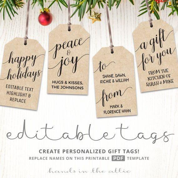 Kraft Gift Tags Merry Christmas Gift Tags Black And White Labels Editable Diy Christmas P Christmas Gift Tags Printable Christmas Gift Tags Gift Tags Printable