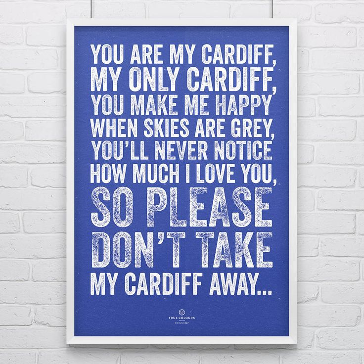 Cardiff City 'My Cardiff' Football Song Print