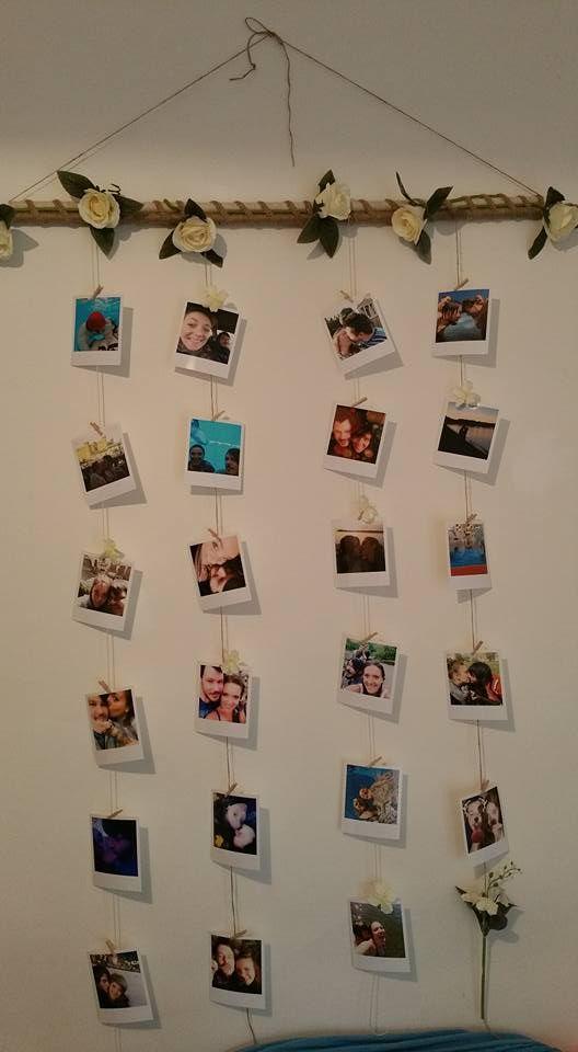 porta foto da parete con rose, spago e polaroid