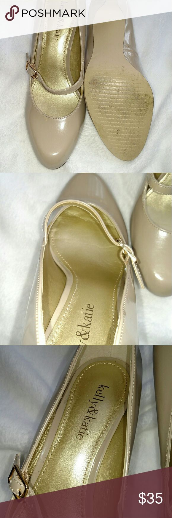 Kelly & Katie nude patent leather Mary Jane's. Only worn once for my wedding for about 2hrs. There is a tiny scuff in 4th picture next to the flash mark. Kelly & Katie Shoes Heels
