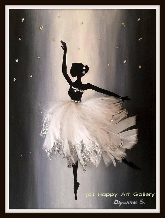 Encantadora bailarina-bebé niña vivero decoración bailarina de arte de la pared de la bailarina de baile de la bailarina de la pared de arte bailarina de baile