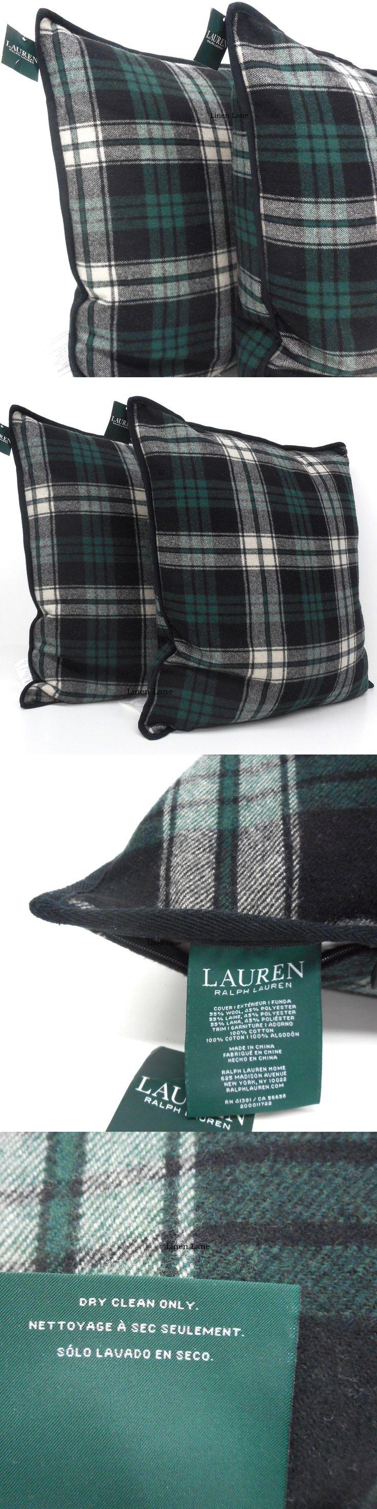 Decorative Bed Pillows 115630: Ralph Lauren Tartan Plaid Throw Pillow Set Of 2 Nwt Green Black Ivory Wool Blend -> BUY IT NOW ONLY: $144 on eBay!