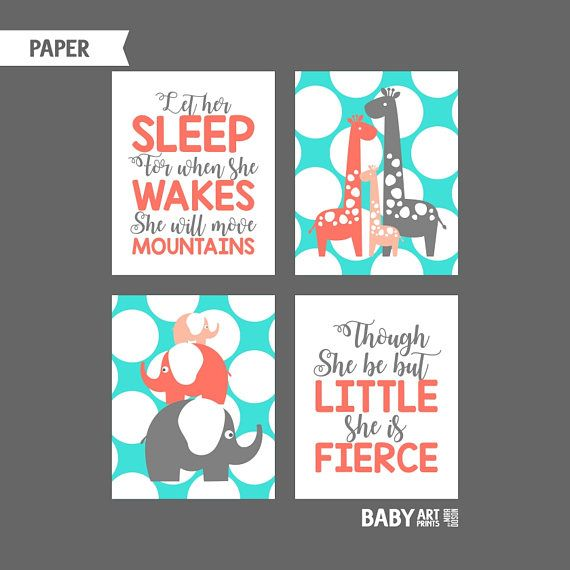 Coral Turquoise Grey Baby Girl Nursery art prints Let her