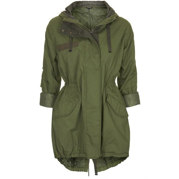 TOPSHOP Casual Padded Parka Jacket ($140) ❤ liked on Polyvore featuring outerwear, jackets, coats, tops, coats & jackets, khaki, padded parka, hooded parka, hooded parka jacket and khaki green parka