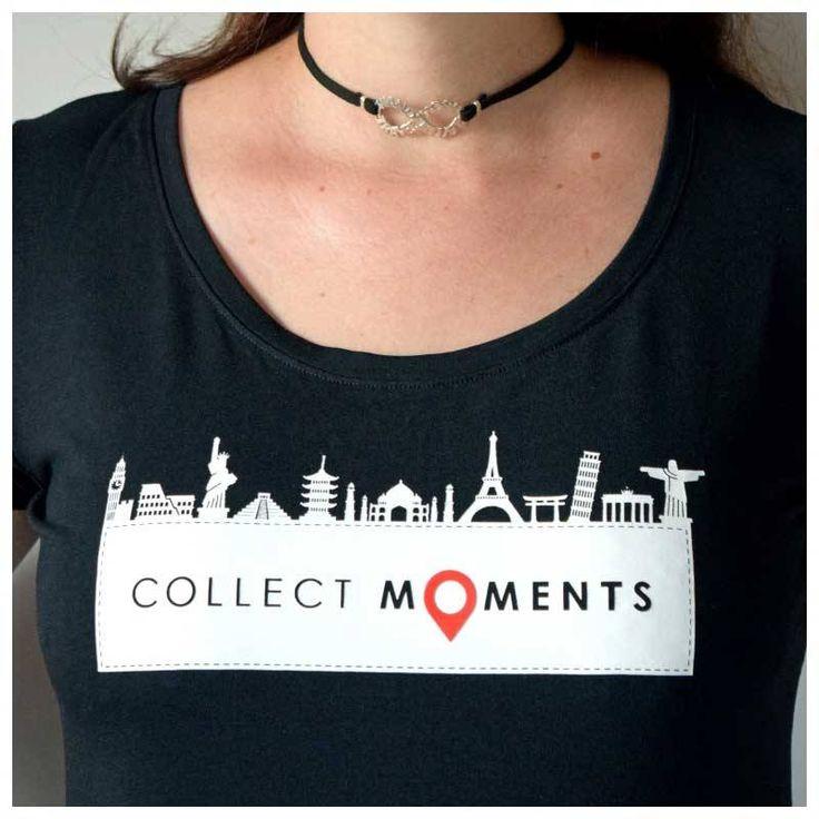 Camiseta Viajante Preta - Collect Moments - Ícones Turísticos. Modelo versátil e leve em Viscose com Elastano, tecido difícil de amassar, ideal para levar na mala!