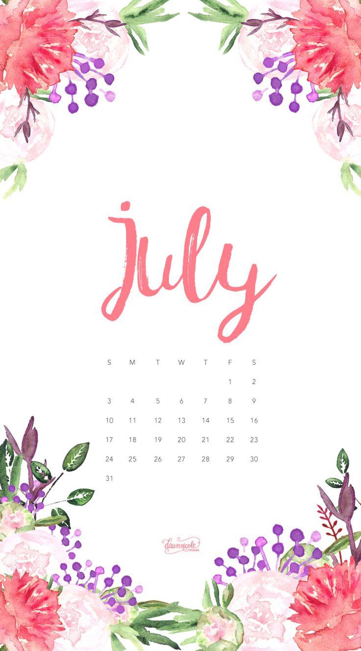 July 2016 Calendar PhoneWallpaper DawnNicoleDesigns 740x1334 Pixeles F