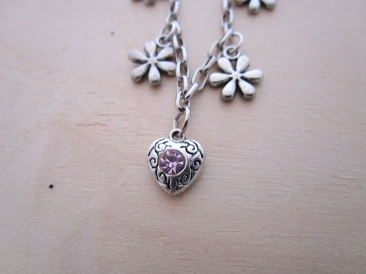 Floral Charm Bracelet by NovemberSunset on Etsy