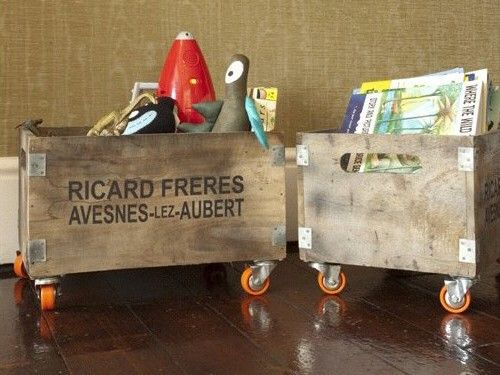 old crates on wheels for toys