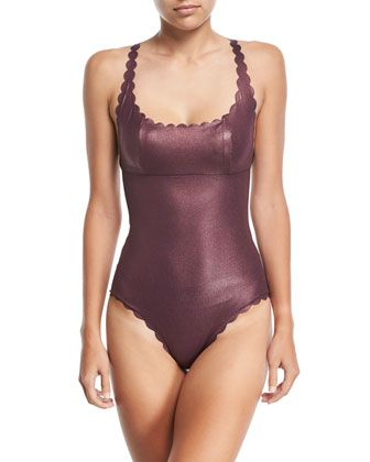 Gwen Reversible Seamless Wave One-Piece Swimsuit, Plume by PilyQ at Neiman Marcus.