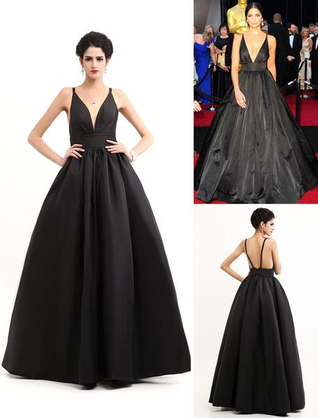 Black Oscar Evening Dress Straps Backless Deep-V Taffeta Dress