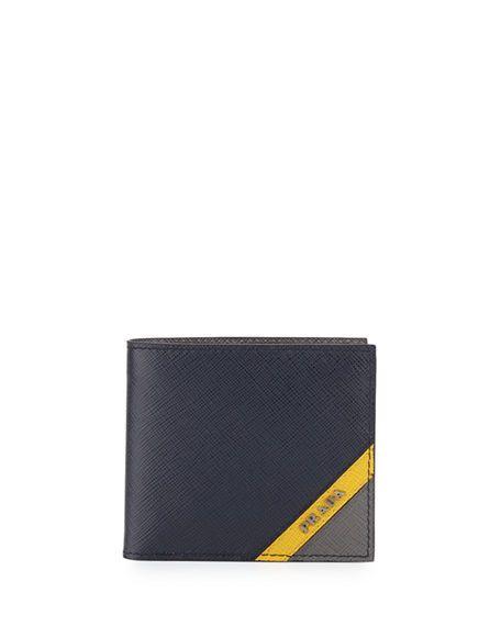 e08b46a4 PRADA Saffiano Tricolor Wallet, Gray/Light Blue/Navy, Navy/Yellow ...