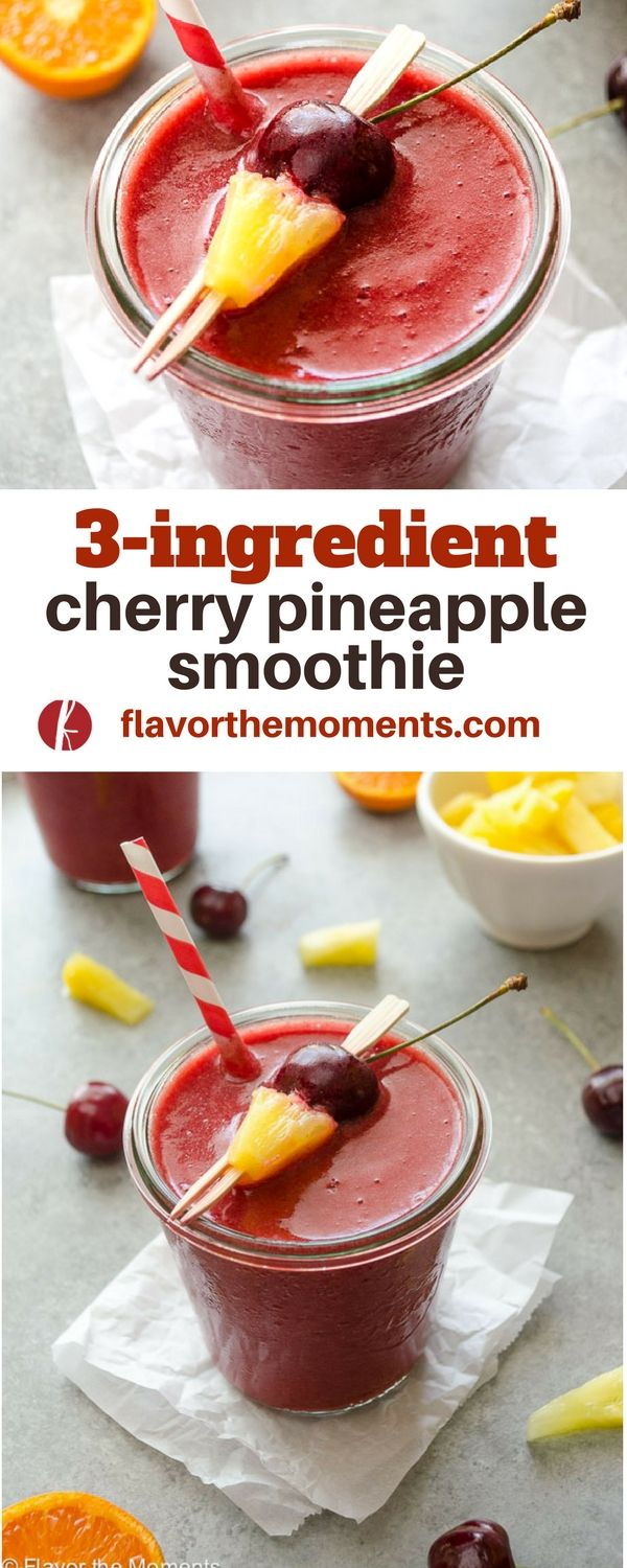 3-Ingredient Cherry Pineapple Smoothie is a 100% all fruit smoothie with no added sugar and it tastes just like a Big Stick Popsicle! {GF, DF, V} @FlavortheMoment