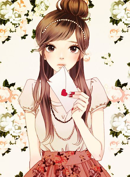 Illustration drawings cartoon manga vintage photo - Anime girl on phone ...