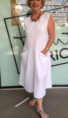 Pia Dress Pattern made up in China Heavy White Linen