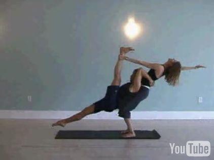 partner yoga pose flying split  partner yoga partner