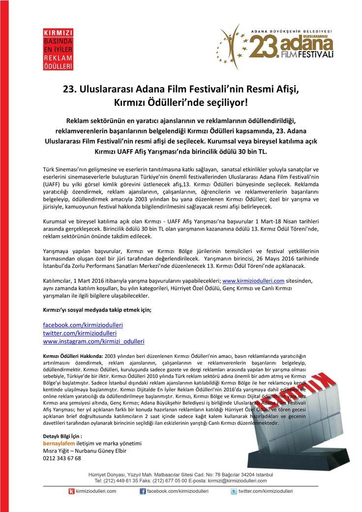 23.Uluslararası Adana Film Festivali 13.Kırmızı Ödülleri