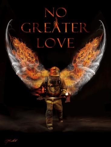 No Greater Love Fireman Art Print by Jason Bullard