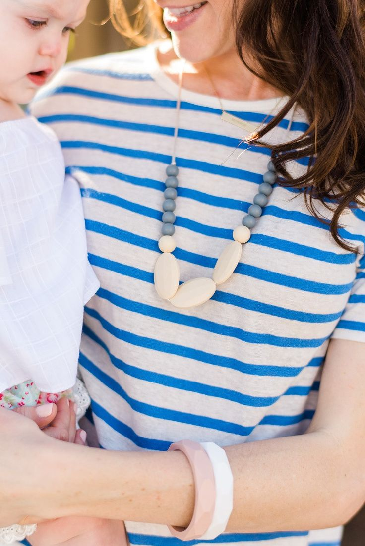 Chewable Charm Silicone Teething Necklace | The Hudson - Gray Teething Necklace for mom