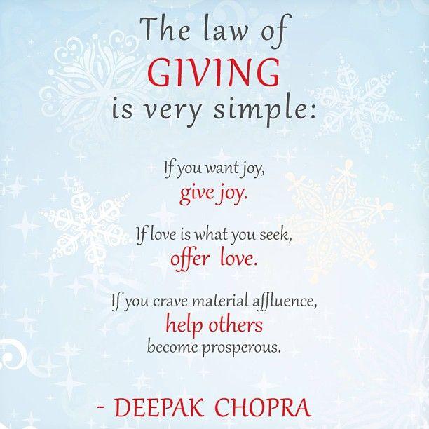 The law of giving ~ Deepak Chopra