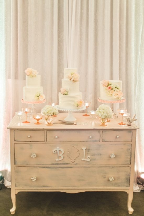 Table from the brides childhood. vintage cake table