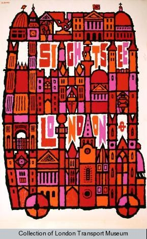 Sightsee London, by Abram Games, 1968: Vintage Posters, Picture-Black Posters, London Transportation, London Sight, Londonabram Games, Sights London, Abrams Games, Artworks Collection, Travel Posters
