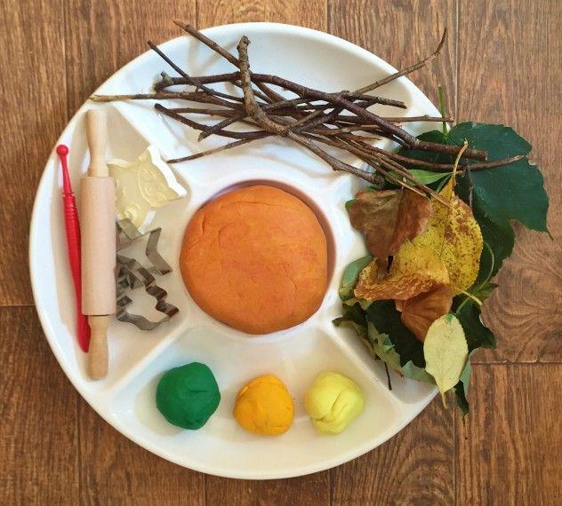 Autumn Playdough platter. Autumnal scented playdough recipe.